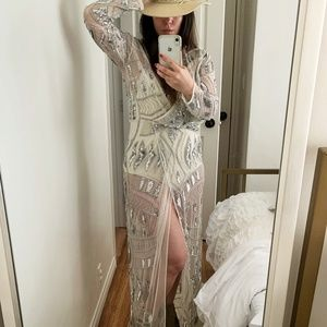 Art Deco Silver Embellished Maxi Kimono Wrap Dress